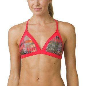 PRANA Red, brown and yellow Bikini Top S